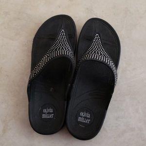 Olivia Miller Black sandals with bling